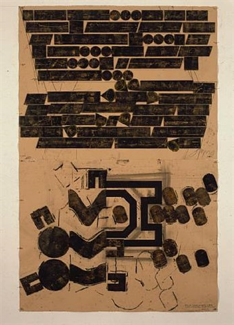 study for sculpture occupying two areas 'gad (turning pages - beckett to bernhard) by barry le va