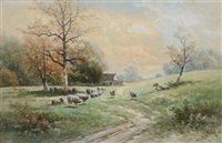 sheep in hilly spring landscape by carl weber