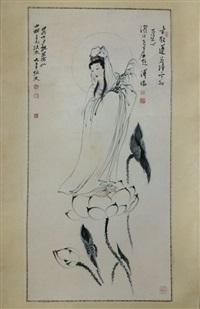 chinese painting by pu ru&da qian mounted with no frame by zhang daqian and pu ru