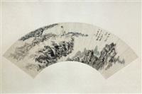 chinese fan painted by zhang da qian by zhang daqian