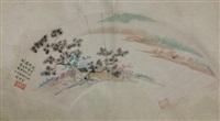 chinese painted fan by wu hu fan no frame by wu hufan