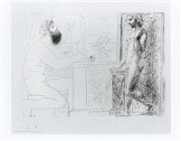 sculpteur et son modele devant une fenetre by pablo picasso