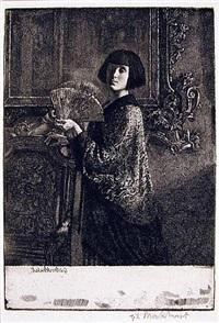 l'eventail (the fan) by gerald leslie brockhurst