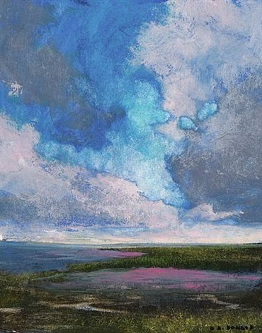 bay and clouds at dawn (sold) by david allen dunlop