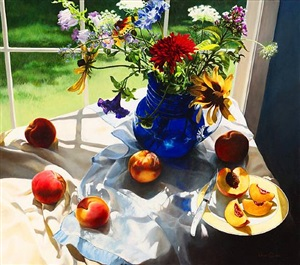 still life with peaches (sold) by cora ogden