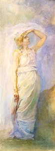 dawn allegorical study in watercolor by john la farge
