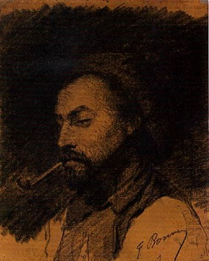 the head of a man smoking a pipe by françois bonvin