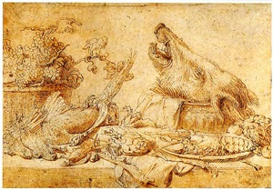 a still life of dead game, fruit, an artichoke, a lobster and a boar's head in a tureen by frans snyders