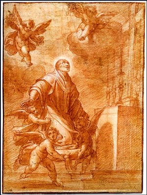 saint charles borromeo in prayer, attended by putti by camillo procaccini
