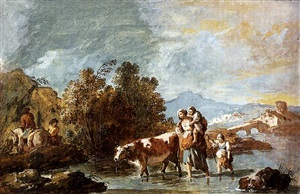 a peasant family with a cow, crossing a stream by giuseppe zais