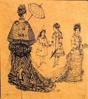 four studies of elegantly dressed women and girls by rodolphe bresdin