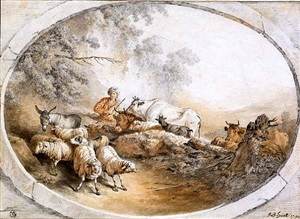 pastoral landscape with a herdsman and his dog driving sheep, cattle and a donkey, in a fictive stone frame by jean baptiste huët