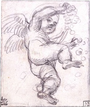 a winged putto with a garland, seen from below by annibale carracci