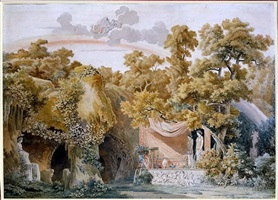 design for the stage: a grotto landscape with the temple of vesta, juno in the sky above by charles percier
