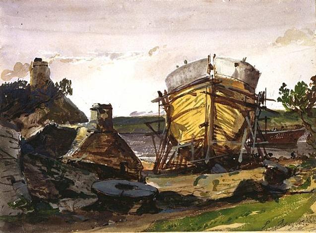 coastal landscape with a boat under construction by louis gabriel eugène isabey