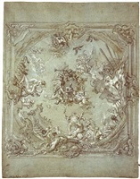 a design for a ceiling decoration in honour of a genoese admiral by lorenzo de ferrari