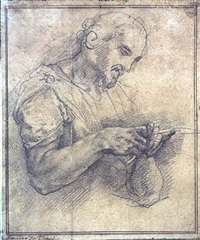 a man sharpening a quill by taddeo zuccaro