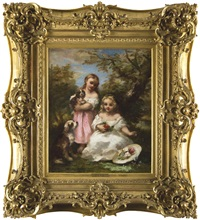 Deux enfants (Émile et Marie) et leurs chiens, 1856