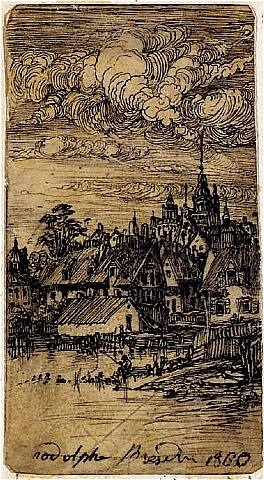 village with a fisherman by rodolphe bresdin