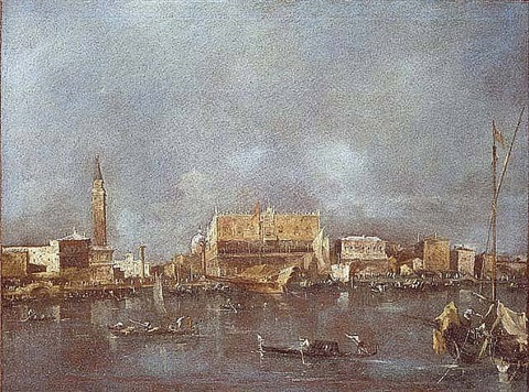the palazzo ducale viewed from the sea by francesco guardi