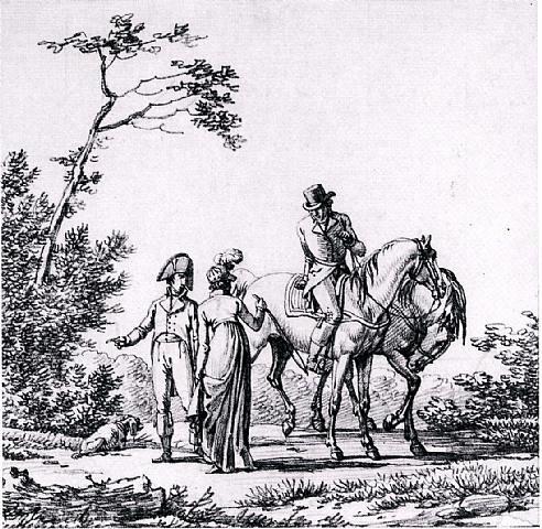 elegant figures preparing to go riding by jacques françois joseph swebach-desfontaines