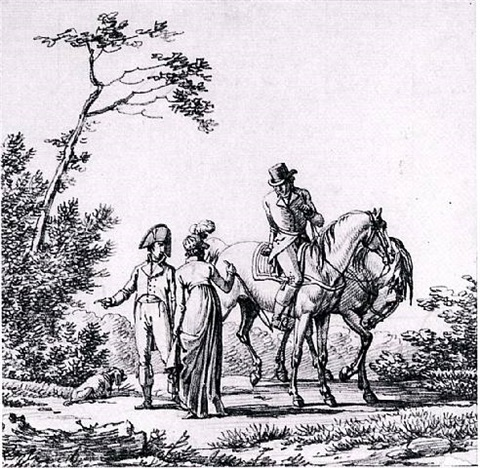 elegant figures preparing to go riding by jacques françois joseph swebach-desfontaines