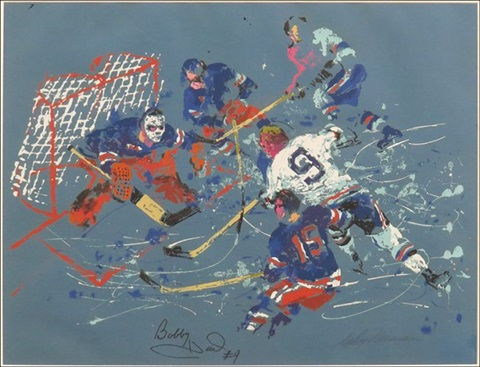 bobby hull shoots on ed giacomin by leroy neiman