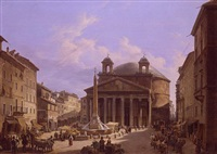 view of the piazza della rotunda with the pantheon, rome by franz verveloet