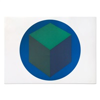Centered Cube within a Blue Circle, 1988