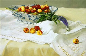 red and white cherries in a blue chinese bowl (sold) by cora ogden
