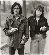 A young man and his girlfriend with hot dogs , 1971