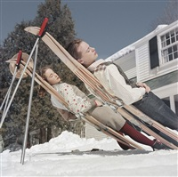 New England Skiing: Two women recline on..., 1955