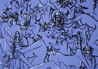 blue expanding figures by george condo