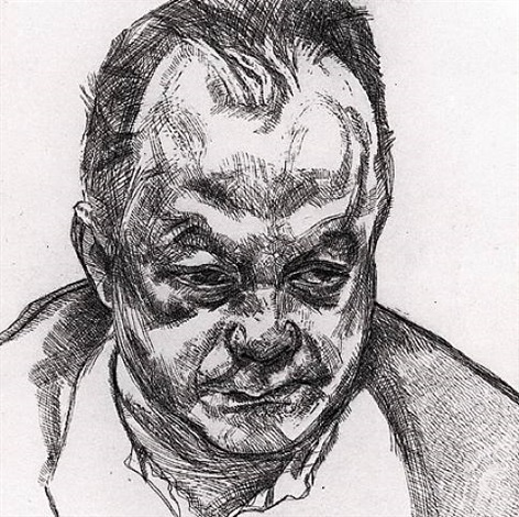 head of bruce bernard by lucian freud