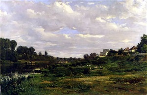 village on a quiet river by hippolyte camille delpy