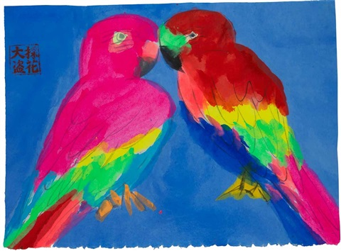 Love Birds In Blue Sky By Walasse Ting On Artnet