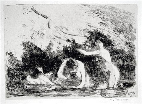 baigneuses a l'ombre des berges boisees (women bathing in the shade of wooded banks) by camille pissarro