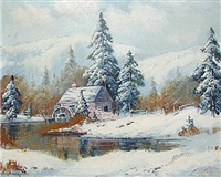 winter cabin by ernest fredericks
