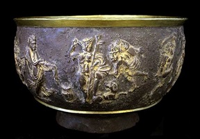 bactrian gilt silver bowl with relief decorations - pf.5882
