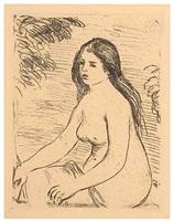 femme nue assise by pierre-auguste renoir