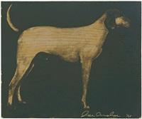 medium dogs (olive green on byzantine gold) by joe andoe