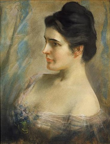 portrait of woman by irving ramsey wiles