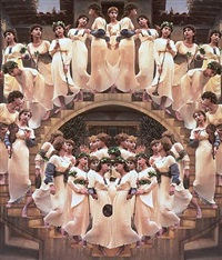 angels descending a staircase by yasumasa morimura