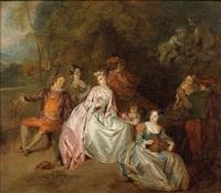 scène galante dans un parc by jean-baptiste pater