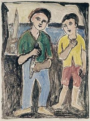 boys on a dock, gloucester by theresa ferber bernstein