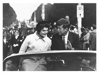senator john f. kennedy campaigning with his wife in boston by carl mydans