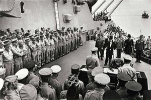 japanese surrender on board the u.s.s. missouri in tokyo bay, september 2 by carl mydans
