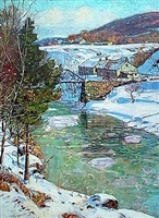 icy river, berkshires, circa 1915 by george gardner symons