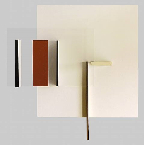 relief construction in white, black and indian red by victor pasmore