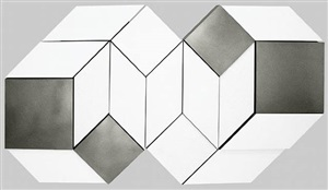 white, grey & aluminium additive-unit relief by malcolm hughes